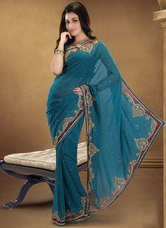 Flamboyant Blue Georgette Saree