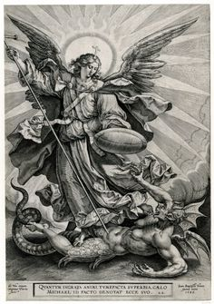 Recto St Michael triumphing over the dragon; St Michael, holding a cross-ended spear and a shield, seen standing and transfixing a monstrous creature, with breasts, wings and a dragon tail. Engraving © The Trustees of the British Museum St. Michael Tattoo, Archangel Michael Tattoo, Catholic Art, Religious Art, Religious Tattoos, Biblical Art, Angels And Demons, Art Graphique, Angel Art