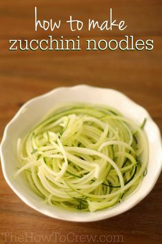 How To Make Zucchini Noodles (Zoodles) from TheHowToCrew.com.  They are so easy to make and can be used in so many different ways! #recipes #zucchini #howto #vegetables