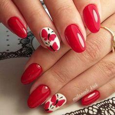 Stunning Women's Shoes Red Nail Art, Nail Polish Art, Bling Nails, Red Nails, Butterfly Nail Art, Toe Nail Designs, Beautiful Nail Art, Flower Nails, Perfect Nails