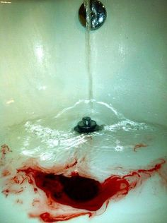Blood in water.