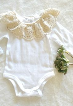 Handmade Lace Collar Onesie | ScoontyMadeWithLove on Etsy