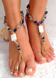 Barefoot sandals. beaded sandals, lapis gemstones boho barefoot sandles,Gypsy Sandals  , yoga, anklet  hippie shoes