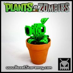Peashooter 3d voxel perlerbead (plants vs. zombies)