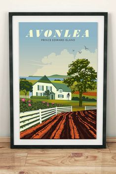 Anne of Green Gables, Avonlea Travel Poster Unframed etsy (affiliate) Road To Avonlea, Lm Montgomery, Adams Homes, Gable House, Literary Travel, Anne Shirley, Prince Edward Island, Anne Of Green Gables, Typography Prints