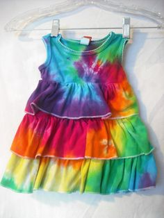 Tie dye ruffle dress 612 month sizeupcycled by DoYouDreamOutLoud, $14.00