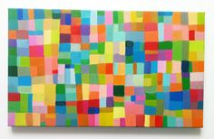 Abstract Painting / ORIGINAL PAINTING/ Geometric shapes/ Colored squares / blue red yellow green pink orange Colors/Home Decor/ Mosaic
