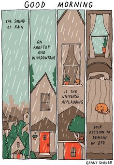 32 Ideas Funny Good Morning Pictures Humor Feelings For 2019 Infp, Good Morning Posters, Sound Of Rain, Humor Grafico, Cute Comics, Rainy Days, Rainy Night, Feel Good, Illustrator