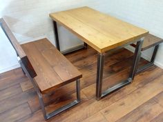 Contemporary modern industrial style handcrafted steel and wood furniture. Dining Set, Dining Bench, Line Shopping, Modern Industrial, Wood Furniture, Modern Contemporary, Steel, Home Decor, Dining Table
