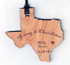 Memorable wedding favors -- this one is a Texas shaped wooden ornament. We can make any state shape! :) Laser engraved with your custom design. Wood Invitation, Invitations, How To Memorize Things, Things To Sell, Wooden Ornaments, How To Make Ornaments, Wood Veneer, Wood Species, Crafts To Sell