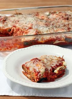 This Eggplant Parmesan Casserole is cheesy, saucy, healthy and vegetarian lightened up comfort food for only 257 calories or 7 Weight Watchers points per serving! www.emilybites.com