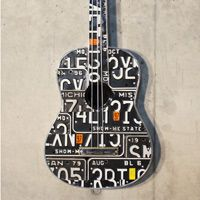 these license plate guitars are amazing in person! License Plate Crafts, Old License Plates, License Plate Art, Music Furniture, Old Plates, Rock Wall, Types Of Craft, Music Wall, So Creative