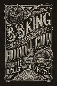 BB King and Buddy Guy at the Hollywood Bowl, August 11, 2010. Poster by Christopher Martin