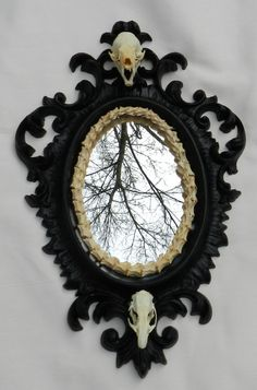 Haunted: Vintage Mirror Adorned with Real Bones. Gothic Furniture, Dark Furniture, Mirror Inspiration, Animal Bones, Gothic House, Through The Looking Glass, Decoration, My Dream Home, Sweet Home