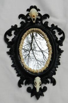 Forgotten Boneyard Vintage Mirror with Real Skulls
