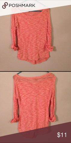 Express slouchy sweater.  Size small. Cute and fun slouchy sweater by Express.  Peach/salmon pink in color.  Throw it on with a pair of leggings for a lazy but still fabulous looking day. Express Sweaters Crew & Scoop Necks