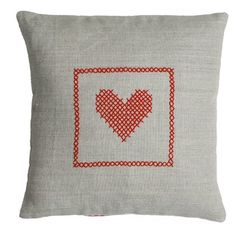 Valentine's day pillow on natural linen red by chocolatecreative, £25.00