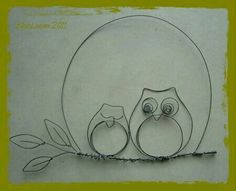 to do with three owls. Place on an awesome scrapbook paper for the background. Owl Crafts, Wire Crafts, Metal Crafts, Wire Wrapped Jewelry, Wire Jewelry, Jewellery, Sculptures Sur Fil, Stylo 3d, Copper Wire Art