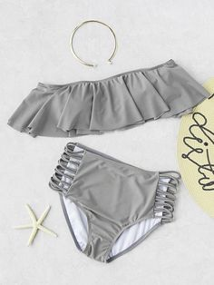Online shopping for Grey Strapless Ladder Cutout High Waist Ruffle Bikini Set from a great selection of women's fashion clothing & more at MakeMeChic. Bathing Suits For Teens, Summer Bathing Suits, Swimsuits For Teens, Cute Bathing Suits, Cute Swimsuits, Fashion Swimsuits, Vintage Swimsuits, Bikini Fashion, Women's Plus Size Swimwear