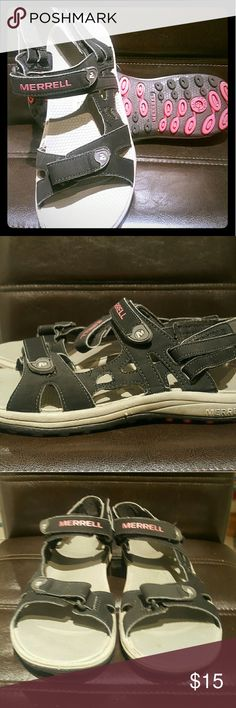Merrell Sandals Black with gray rubber footed. Velcro straps for adjustable fit very comfortable  Merrell Terran Sport Sandals with air cushion sole Pink accents on sole and Merrell written in pink Rarely worn Merrell Shoes Sandals