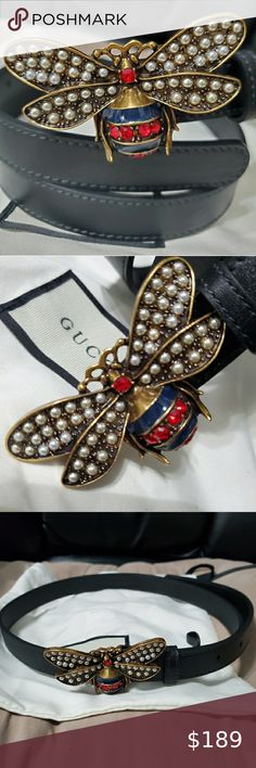 Designer Inspired Bee Belt Black Pearls Crystals Size Large Gold Tone NEW