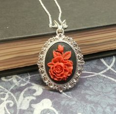 Red Rose Cameo Necklace by PurrfectPendant on Etsy