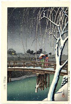 Yuki no Edogawa (Evening Snow at Edo River), by Kawase Hasui, 1932 -- See also at: http://collections.lacma.org/node/190235