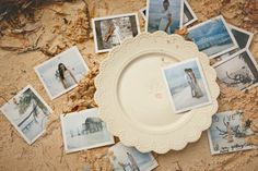 Plate w/ bride and groom pictures