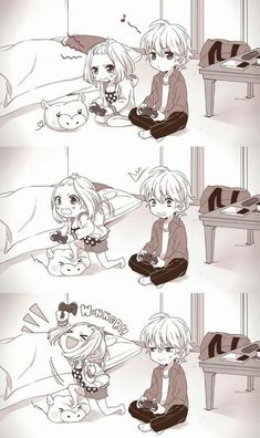 Ok I see that people are asking what manga or anime this is and I'm also so interested, so if anybody knows can you pls comment the title. Anime Chibi, Draw Chibi, Manga Anime, Anime Kawaii, Manga Couple, Anime Love Couple, Cute Anime Couples, I Love Anime, Gamer Couple