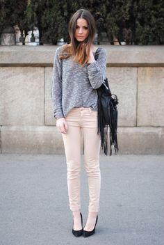 skinny corduroy and heels
