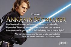 I'm Anakin Skywalker! Which 'Star Wars' prequel character are you? #ZimbioQuiz #StarWars