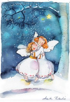 sweet little Angels:):) Christmas Tale, Magical Christmas, Christmas Angels, Christmas Greetings, Vintage Christmas, Illustration Noel, Christmas Illustration, Illustrations, Angel Pictures