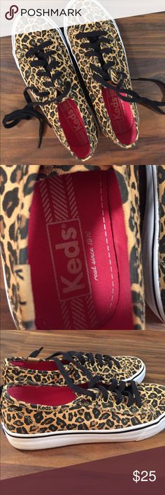 Keds size 3 Leopard Sneaker These keds have been worn once outside, in excellent like new condition- please see photos of bottom and foot bed area. Leopard print, could easily fit a women's 5/5.5. Keds Shoes Sneakers