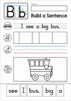 Build a Sentence: Sentence Scramble Cut and Paste Worksheets. A fun and engaging activity for beginning and struggling readers.