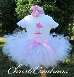 Sneak Peak of Audriana's birthday outfit!  1st Birthday Pink Princess Custom Boutique Birthday Petti Tutu and Onesie Set Personalized. $58.00, via Etsy.