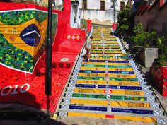 Tiled Steps, Rio de Janeiro, Brazil: These mosaic-style stairs are bright, cheery and full of Brazilian culture and color. (Photo via Justin Travels)