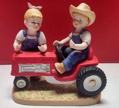 Homco Denim Days First Tractor Home Interiors Porcelain Figurine - 1525 Red Farm