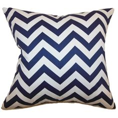 Stylize your interior with this stunning and bold zigzag pillow. This accent pillow features an elaborate zigzag pattern in a blue and white color palette. This decor pillow adds a savvy look on your living room or bedroom. This square pillow is crafted with plush materials made from 100% soft cotton fabric. This contemporary pillow is great for formal and casual settings. $55.00  #zigzag #chevron #pillows