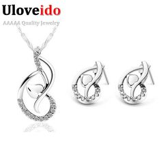 Find More Jewelry Sets Information about Wedding Jewelry Sets Silver Plated Necklace of Stones Joyas White Crystal Earrings for Women Bijoux Chains Brand Ulove T044,High Quality earring chain,China earrings flat Suppliers, Cheap earring male from ULOVE Fashion Jewelry on Aliexpress.com