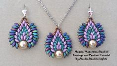 Magical Magatamas Beaded Earrings and Pendant Free Tutorial by Alesha Beadifulnights featured in Bead-Patterns.com Newsletter