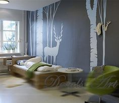 """Deer in the Forest 98"""" - Vinyl wall sticker- wall decal- tree decals- wall murals art - nursery wall decals- Nature- Tree. $79.00, via Etsy."""