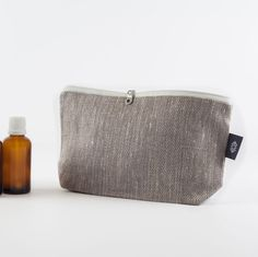 Medium Grey Linen Toiletry Storage Kit, Travel Case Toiletry Kits Toiletry Bag Dopp Kit Canvas cosmetic Bag Makeup Pouch Canvas Zipper Pouch