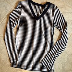 Striped GAP top Blue and white v neck striped top GAP Tops Tees - Long Sleeve