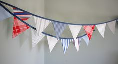 Patriotic Bunting Banner / Nautical Pennant Flag Garland / Fourth of July Independence Day Memorial Day / Red White Blue / Vintage Nursery by TheBuntingPlace on Etsy https://www.etsy.com/listing/84853411/patriotic-bunting-banner-nautical