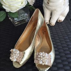 Kate Spade Gold embellished Flats open toe 7.  Kate Spade faux metallic gold snake skin with open toe and pearl embellishment. Size 7  good condition and absolutely adorable! kate spade Shoes Flats & Loafers