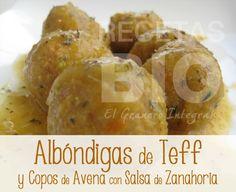 Albóndigas de Teff y Copos de Avena con Salsa de Zanahoria