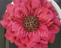 Burlap wreath Burlap flower wreath Spring by Loveshouseofburlap Sunflower Burlap Wreaths, Burlap Flowers, Pink Flowers, Fabric Flowers, Paper Flowers, Wreath Crafts, Diy Wreath, Wreath Burlap, Wreath Ideas