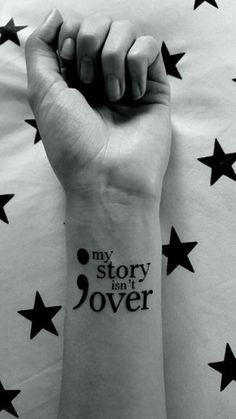 30 Inspirational Semicolon Tattoo Designs I think this tattoo actually says it all. Besides a big semicolon tattoo is. Strichpunkt Tattoo, Shape Tattoo, Tattoo Motive, Wrist Tattoos, Back Tattoo, Body Art Tattoos, Tattoo Quotes, Tattoo Pain, Tatoos