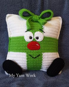 Whimsical Christmas Present Pillow  Crochet Cushion by Teddywings