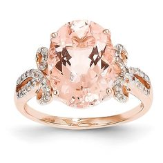 14k Rose Gold Diamond and Morganite Oval Ring.